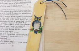 Zakładki drewniane,malowane-Sowy w żółtym