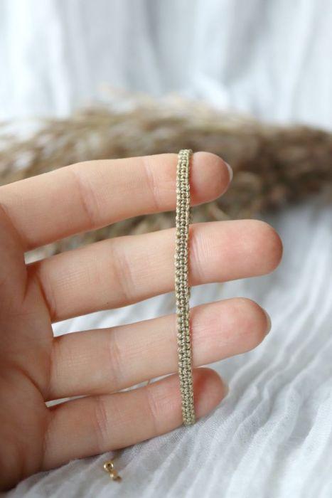 Bransoletka beżowa pleciona - Pleciona bransoletka odcienie beżu