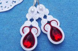 Biel & Czerwień z Kryształkami - kolczyki