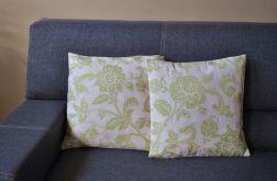 Poszewka gobelinowa - oliwkowe kwiaty i pnącza