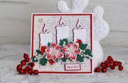Kartka świąteczna z poisencją i świecami