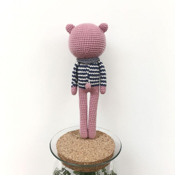 Różowy miś żeglarz - maskotka szydełkowa - Miś żeglarz