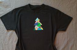 Koszulka ręcznie malowana choinka unisex