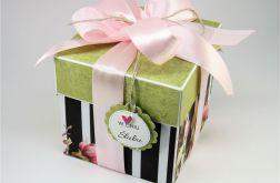 Ślubny exploding box różowa kokarda