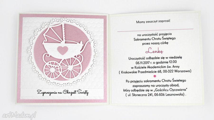 Zaproszenie na Chrzest - różowe wzory