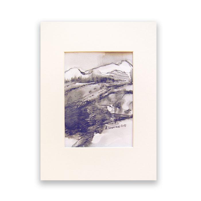 Szkic górski nr 7 -  czarno-biały rysunek