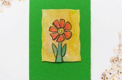 Kartka uniwersalna zielona z kwiatkiem  3