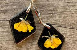 23. Kolczyki z żywicy i kwiatami srebro 925