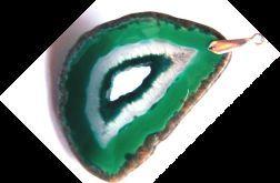 Zielony agat z druzą, surowy plaster wisior