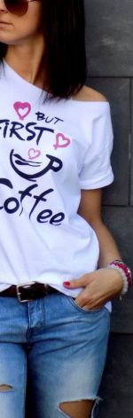 "t-shirt luźny ""BUT FIRST COFFEE"""