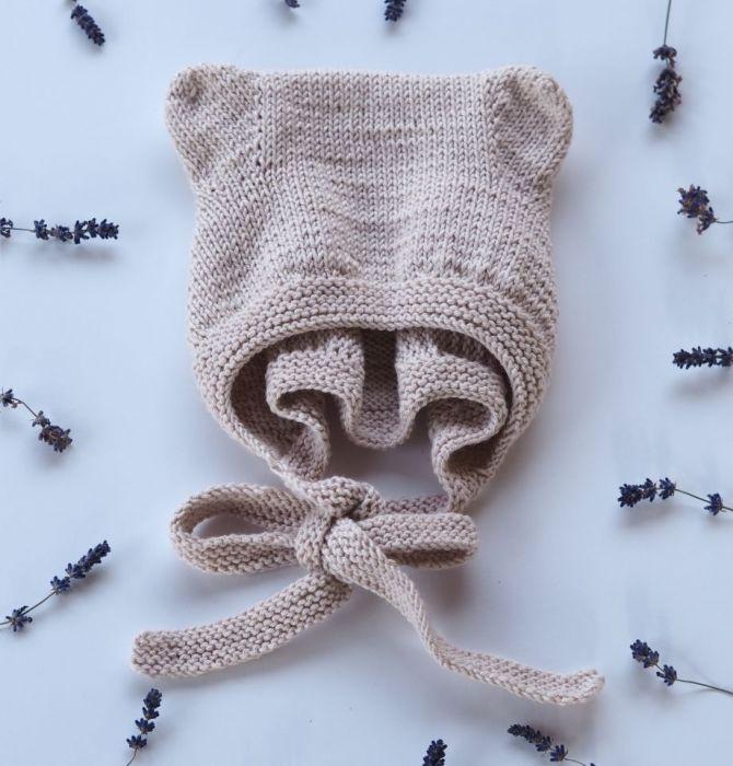 czapeczka bonetka bawełna/merino pudrowy róż - null