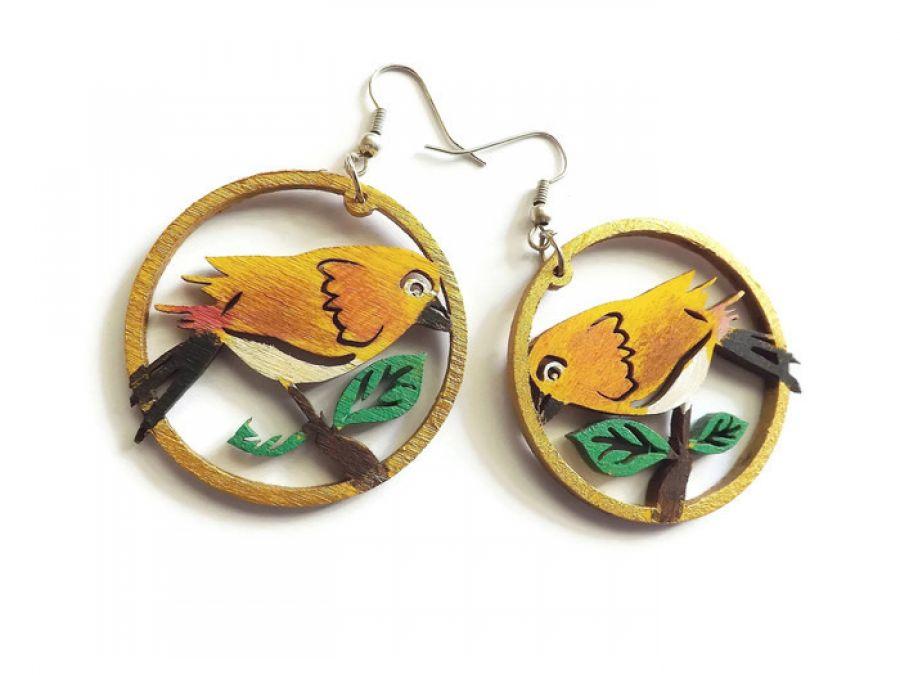 Kolczyki drewniane, malowane - Ptaki - ptaki w jasnym brązie