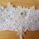 Podwiązka ślubna biała glamour
