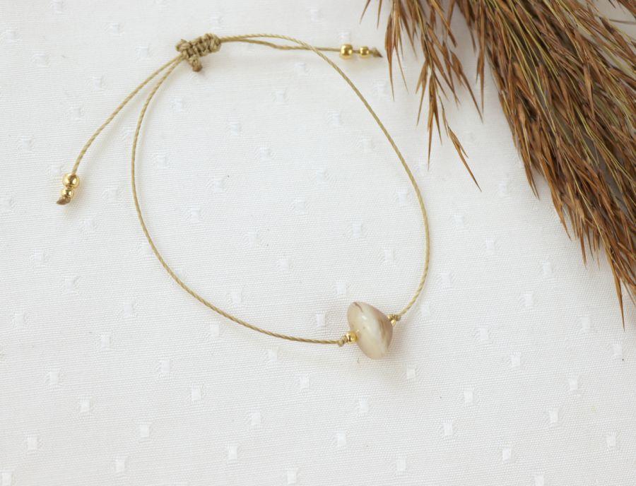 Bransoletka z kamieniem agatem botswana - Bransoletka na rękę z kamieniem