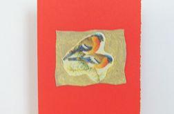 Kartka czerwona- ptaszki gile