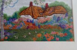 Klimatyczne chatki w ogrodzie - obraz haftowany