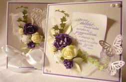 Jagodowa kartka na ślub