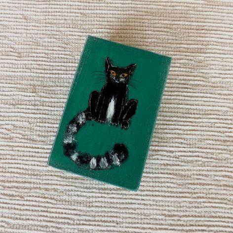 Pudełko malowane m. - Kotek, zieleń morska