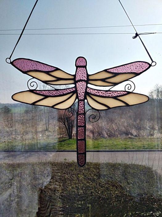 Rajska Ważka Tiffany - zawieszona w oknie
