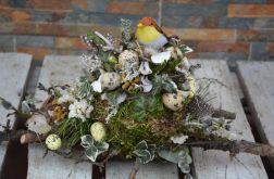 stroik Wielkanocny na stół z ptaszkami