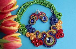 Kolorowa Wiosna   naszyjnik i kolczyki sutasz