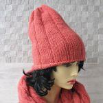 Komin plus czapka. Komplet w kolorze koralowy - podwójny komin
