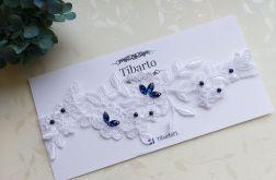 Ślubna biała koronkowa podwiązka