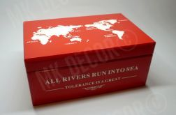 Skrzynia/kufer z wieczkiem czerwony z mapą świata
