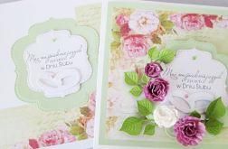 Kartka W DNIU ŚLUBU z różowymi kwiatami