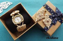 Zegarek i kolczyki- KREM & ZŁOTO