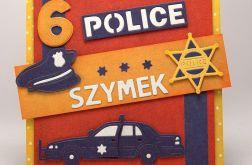 Wzór - Podwójna kartka ze zdjęciem dla małego policjanta.