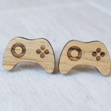 Drewniane spinki do mankietów GAMEPAD