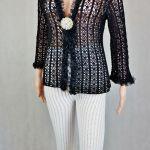 Bluzka-wdzianko szydełkowa czarna - Modny kardigan