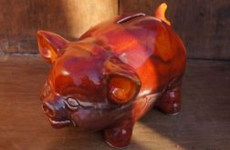 Skarbonka świnka czerwona