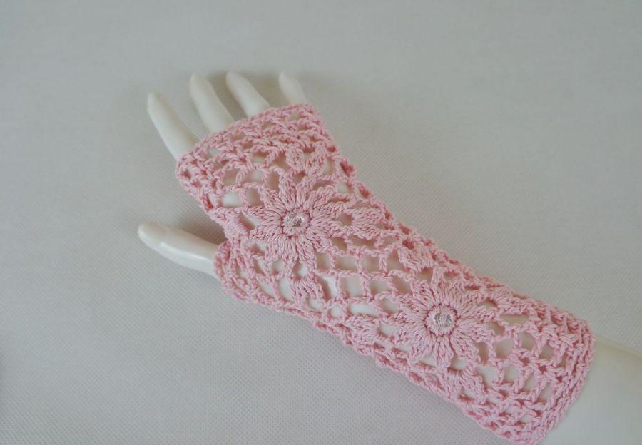 Rękawiczki mitenki handmade różowe 01 - mitenki różowe