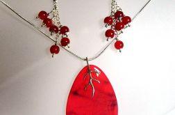 Wiśniowe agaty i srebro, zestaw biżuterii