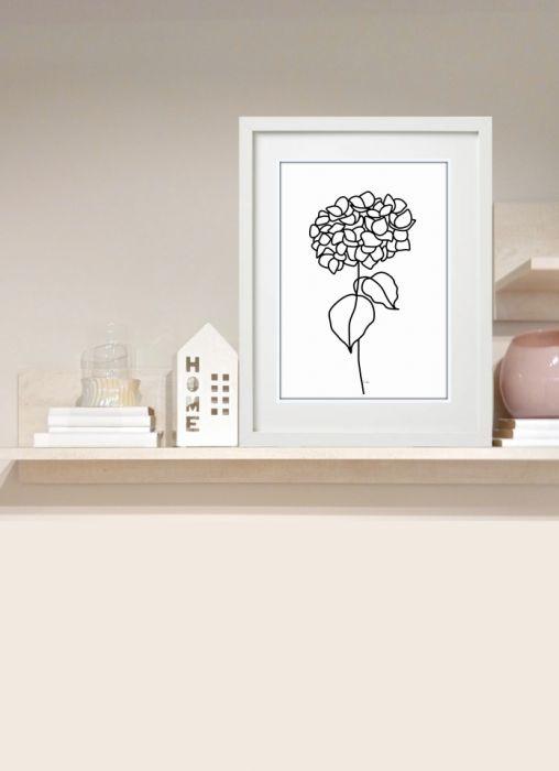 Hortensja, grafika autorska, minimalistyczna i nowoczesna - Dekoracja na półce