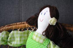 Szmaciana lalka Oleńka - zielona