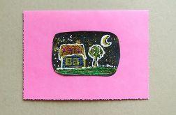 Kartka różowa z domkiem