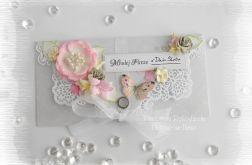 Kopertówka ślubna szaro różowa #2