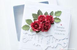 Kartka ŚLUBNA z czerwonymi różami