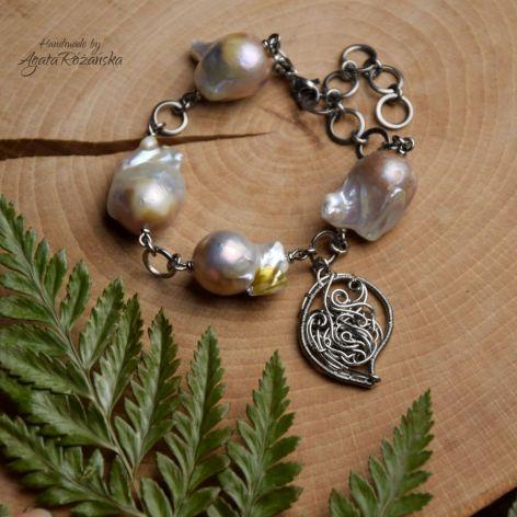Bransoletka z perłami barokowymi stal