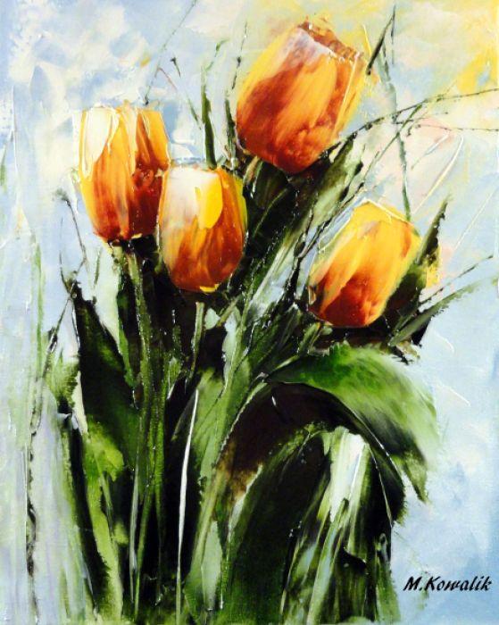 Tulipany Kwiaty Obraz Olejny 24x30 Cm Tem Pera2