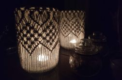 ozdobny świecznik z makramą