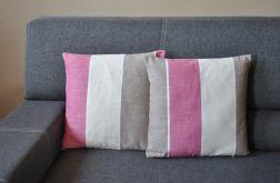 Poszewka dekoracyjna - beżowo-różowe pasy