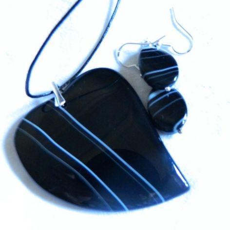 Czarny agat, serce, zestaw w srebrze