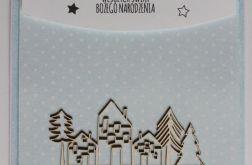 Kartka świąteczna domki osiedle jodła