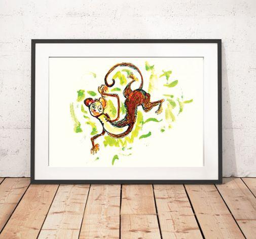Małpka plakat do pokoju dziecięcego obrazek