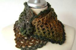 otulacz - ocieplacz w jesiennych barwach, spinany broszką