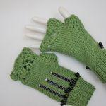 Mitenki ręcznie robione wełna zielone - rękawiczki ręcznie robione
